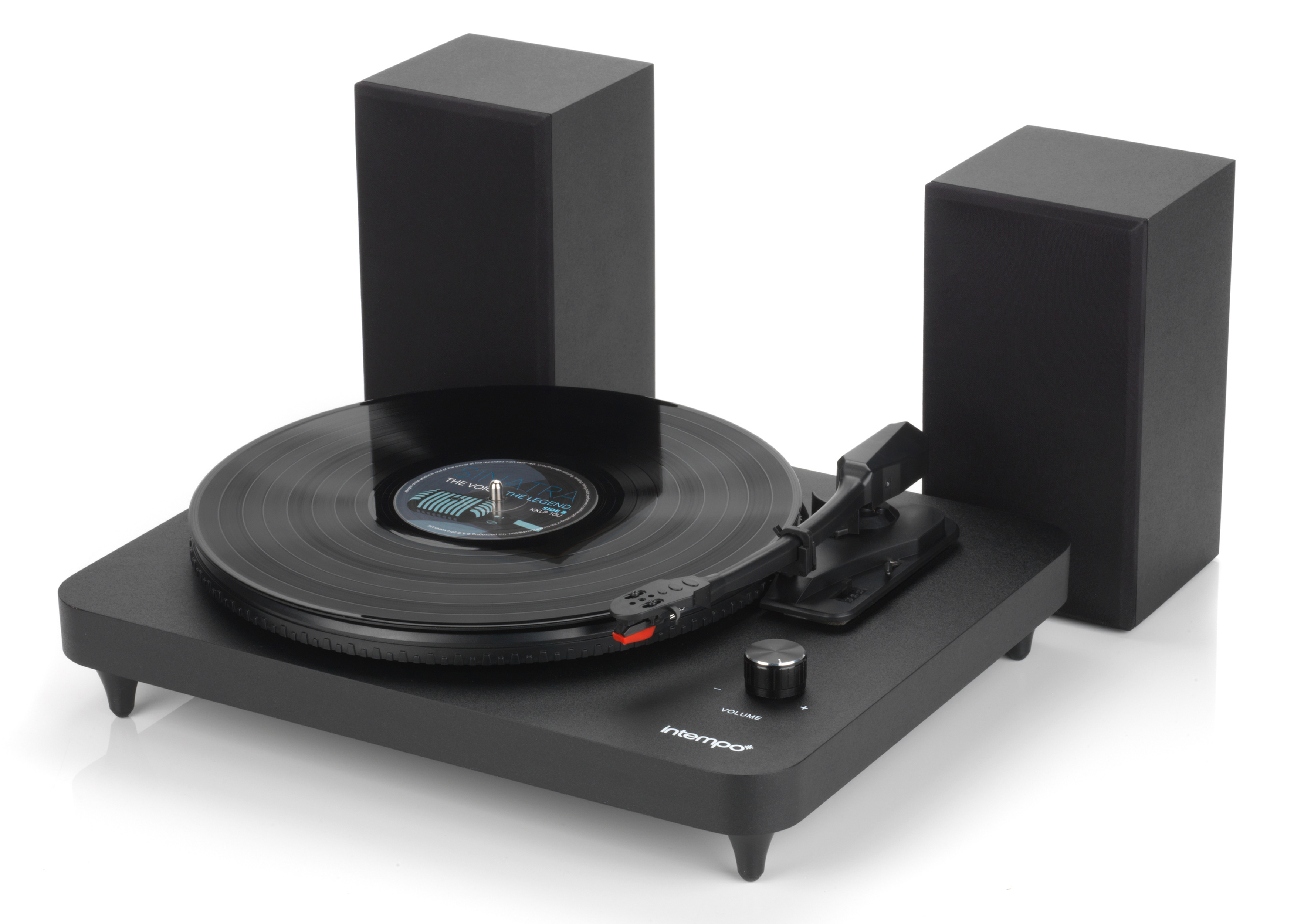 Superieur Intempo Turntable With Stereo Speakers, 6 W, Black