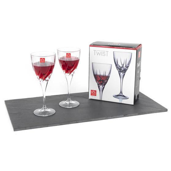 RCR 25119020006 Twist Crystal Wine Glasses, 330 ml, Set of 2