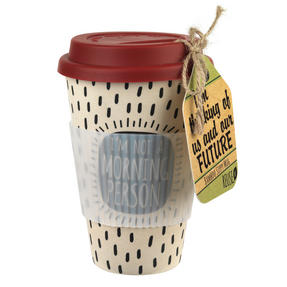 Cambridge CM045281MTL Morning Person Bamboo Eco Travel Mug
