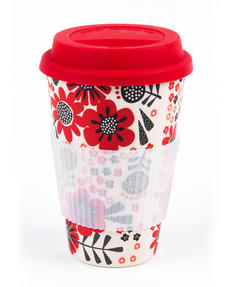 Cambridge CM04684 Polka Dot Garden Bamboo Eco Travel Mug