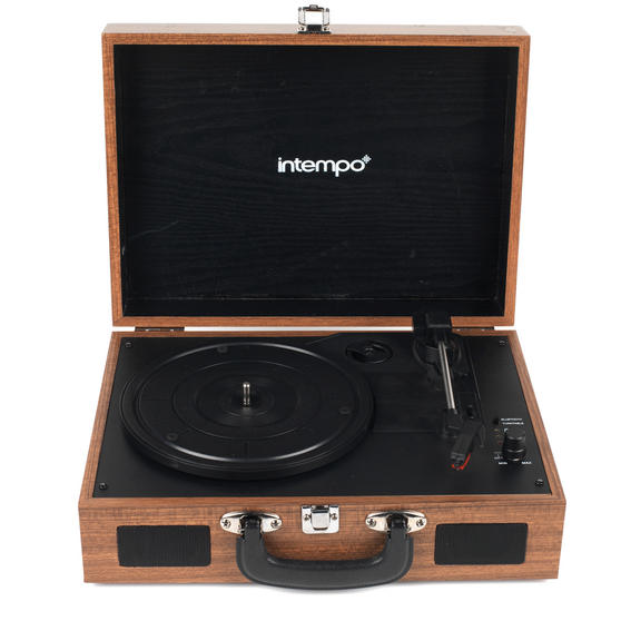 Intempo Rechargeable Wireless Bluetooth Wooden Effect Turntable, Tan