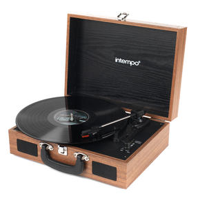 Intempo Rechargeable Wireless Bluetooth Wooden Effect Turntable, Tan Thumbnail 2