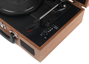 Intempo Rechargeable Wireless Bluetooth Wooden Effect Turntable, Tan Thumbnail 4