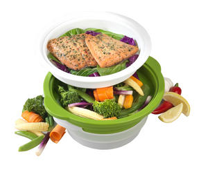 Salter DUOsteam Healthy Microwave Vegetable, Meat and Fish Steamer Thumbnail 1