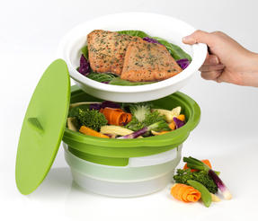 Salter DUOsteam Healthy Microwave Vegetable, Meat and Fish Steamer Thumbnail 7