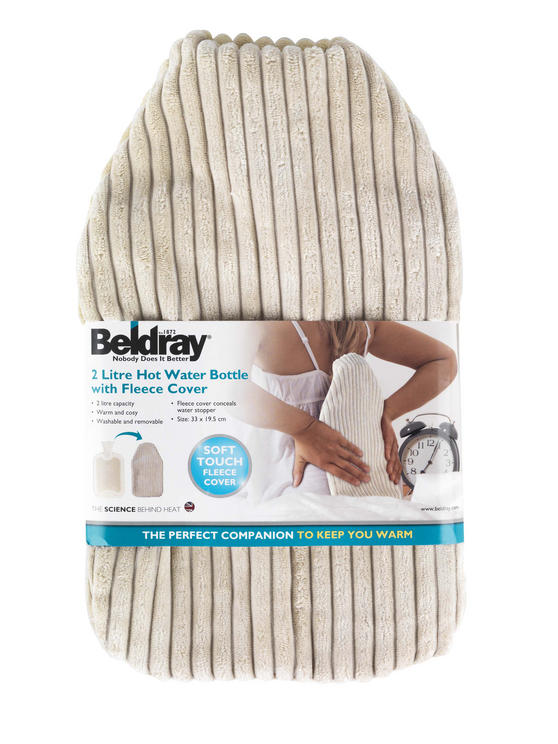 Beldray Hot Water Bottle with Fleece Cover, 2 Litre, 33 x 19.5 cm, Cream Thumbnail 1