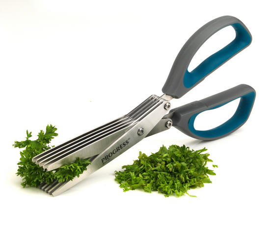 Progress 5-Blade Herb Cutting Kitchen Scissors, 2CR14 Stainless Steel