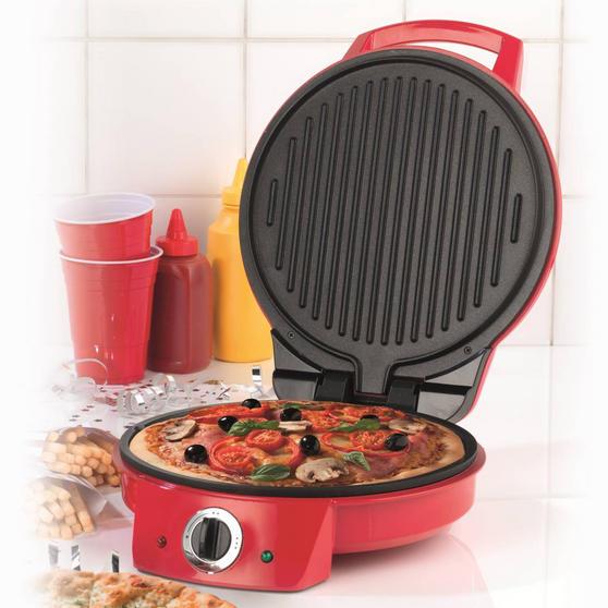 "American Originalss EK2295 10"" Pizza Maker and Multi Grill, Red"