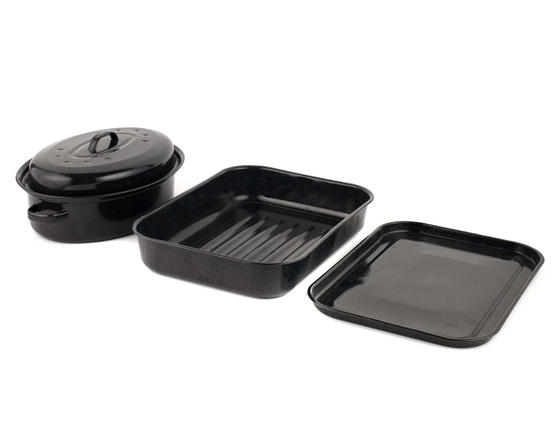 Russell Hobbs Vitreous Enamel Deep Roaster, Baking Tray and Self Basting Roaster with Lid, Black