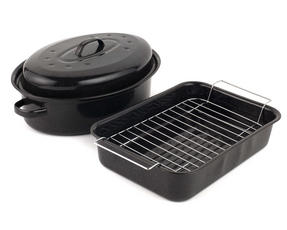 Russell Hobbs Vitreous Enamel Roaster with Rack and Self Basting Roaster with Lid, Black