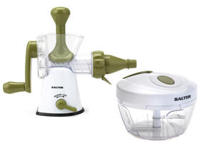 Salter Mini Chopper and Manual Hand-Crank Juicer Prep Set, White/Green