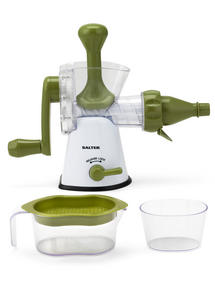 Salter Mini Chopper and Manual Hand-Crank Juicer Prep Set, White/Green Thumbnail 5