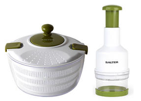 Salter Salad Spinner and Press Chopper Prep Set, White/Green