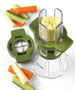 Salter Fruit and Vegetable Baton Stick Slicer and Meal Storage Pot Prep Set, White/Green Thumbnail 6