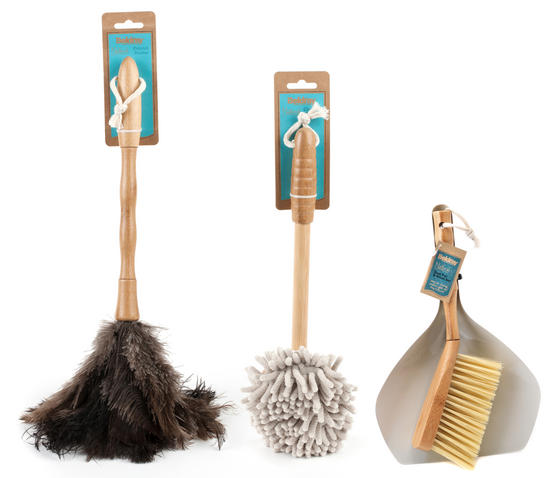 Beldray Bamboo Dustpan, Brush, Chenille Duster & Ostrich Feather Duster Set Thumbnail 1