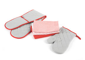 Progress Practical Kitchen Set with Double Oven Glove, Oven Gauntlet and Pack of Three Tea Towels, Grey/Red