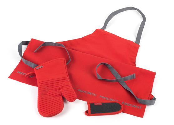 Progress Professional Kitchen Set with Oven Gauntlet, Neoprene Pan Handle Sleeve and Apron, Red