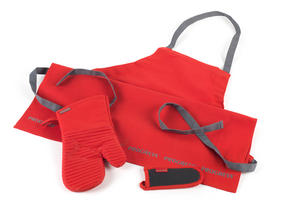 Progress Professional Kitchen Set with Oven Gauntlet, Neoprene Pan Handle Sleeve and Apron, Red Thumbnail 1
