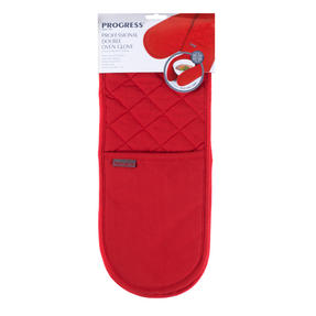 Progress Professional Kitchen Set with Double Oven Glove, Neoprene Oven Gauntlet and Pack of Three Tea Towels, Red Thumbnail 3