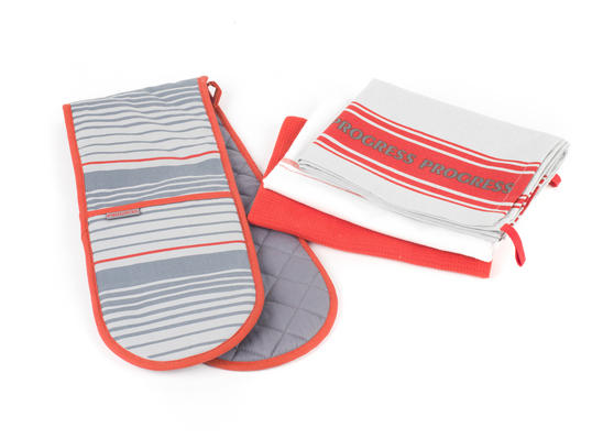 Progress Manhattan Performance Double Oven Glove and Pack of Three Tea Towels, Grey/Red