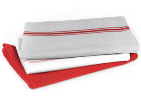 Progress Manhattan Performance Double Oven Glove and Pack of Three Tea Towels, Grey/Red Thumbnail 4