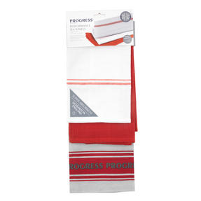 Progress Manhattan Performance Double Oven Glove and Pack of Three Tea Towels, Grey/Red Thumbnail 5