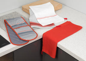 Progress Manhattan Performance Double Oven Glove and Pack of Three Tea Towels, Grey/Red Thumbnail 6