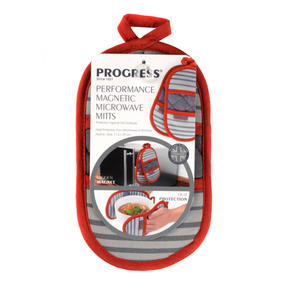 Progress Manhattan Performance Kitchen Set with Oven Gauntlet, Magnetic Microwave Mitts and Pack of Three Tea Towels, Grey/Red Thumbnail 5