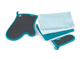 Progress Professional Kitchen Set with Neoprene Oven Gauntlet, Neoprene Pan Handle Sleeve and Pack of Three Tea Towels, Teal