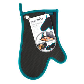 Progress Professional Kitchen Set with Neoprene Oven Gauntlet, Neoprene Pan Handle Sleeve and Pack of Three Tea Towels, Teal Thumbnail 3