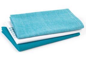 Progress Professional Kitchen Set with Neoprene Oven Gauntlet, Neoprene Pan Handle Sleeve and Pack of Three Tea Towels, Teal Thumbnail 4