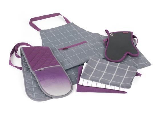 Progress Performance Kitchen Set with Double Oven Glove, Neoprene Gauntlet, Apron and Pack of Three Tea Towels, Purple/Grey