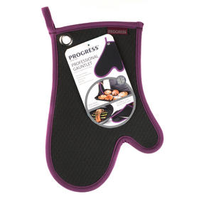 Progress Performance Kitchen Set with Double Oven Glove, Neoprene Gauntlet, Apron and Pack of Three Tea Towels, Purple/Grey Thumbnail 5