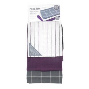 Progress Performance Kitchen Set with Double Oven Glove, Neoprene Gauntlet, Apron and Pack of Three Tea Towels, Purple/Grey Thumbnail 8