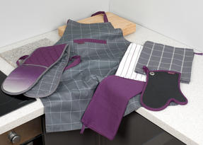 Progress Performance Kitchen Set with Double Oven Glove, Neoprene Gauntlet, Apron and Pack of Three Tea Towels, Purple/Grey Thumbnail 9