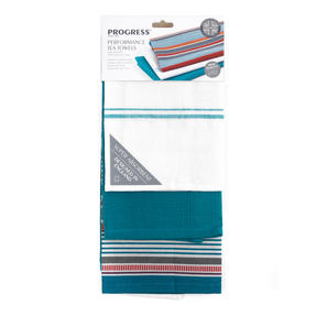 Progress Performance Kitchen Set with Neoprene Double Oven Glove, Apron and Pack of Three Tea Towels, Grey/Teal Thumbnail 7