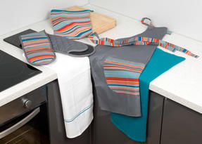 Progress Performance Kitchen Set with Neoprene Double Oven Glove, Apron and Pack of Three Tea Towels, Grey/Teal Thumbnail 8