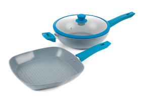 Progress Forged Aluminium Non Stick Griddle Pan and Wok Set, 28 cm, Teal