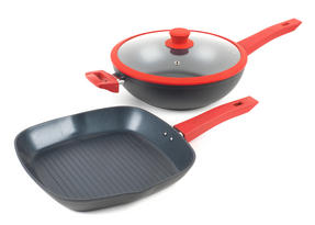 Progress Forged Aluminium Non Stick Griddle Pan and Wok Set, 28 cm, Red