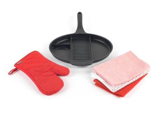 Progress Aluminium 4 Section Non Stick Frying Pan with Oven Gauntlet and Pack of Three Tea Towels, Black/Red