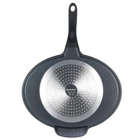 Progress Aluminium 4 Section Non Stick Frying Pan with Oven Gauntlet and Pack of Three Tea Towels, Black/Red Thumbnail 3