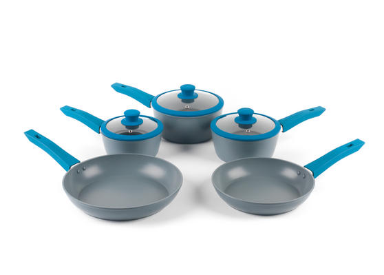 Progress Forged Aluminium Non Stick 3 Piece Saucepan Set with 24/28cm Frying Pans, Teal