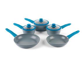Progress Forged Aluminium Non Stick 3 Piece Saucepan Set with 24/28cm Frying Pans, Teal Thumbnail 1