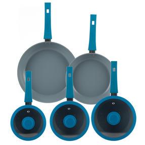 Progress Forged Aluminium Non Stick 3 Piece Saucepan Set with 24/28cm Frying Pans, Teal Thumbnail 2