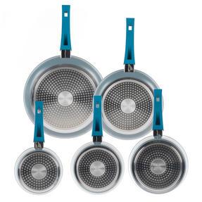 Progress Forged Aluminium Non Stick 3 Piece Saucepan Set with 24/28cm Frying Pans, Teal Thumbnail 3