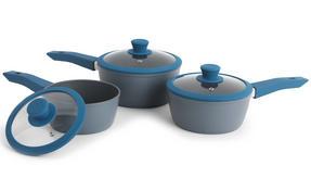 Progress Forged Aluminium Non Stick 3 Piece Saucepan Set with 24/28cm Frying Pans, Teal Thumbnail 4