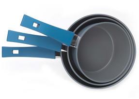 Progress Forged Aluminium Non Stick 3 Piece Saucepan Set with 24/28cm Frying Pans, Teal Thumbnail 5