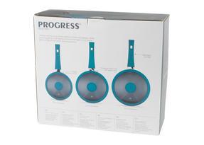 Progress Forged Aluminium Non Stick 3 Piece Saucepan Set with 24/28cm Frying Pans, Teal Thumbnail 9