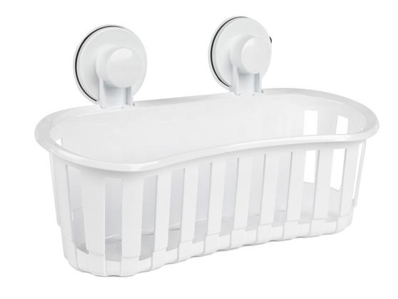 Beldray Plastic Suction Bathroom Shower Basket, White Thumbnail 2
