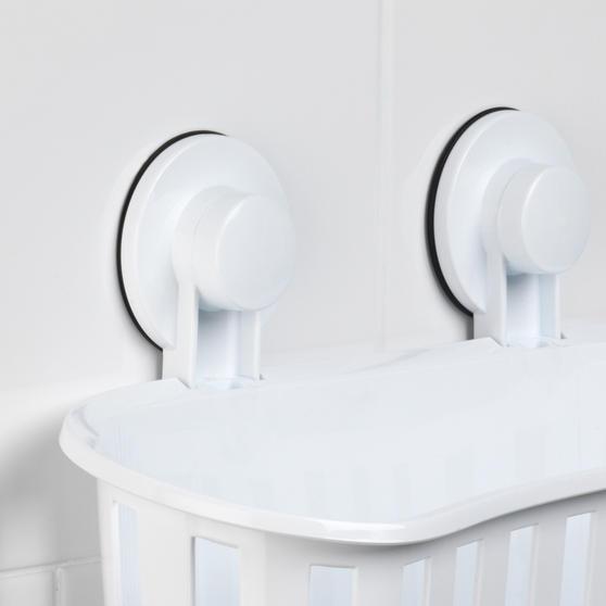Beldray Plastic Suction Bathroom Shower Basket, White Thumbnail 5